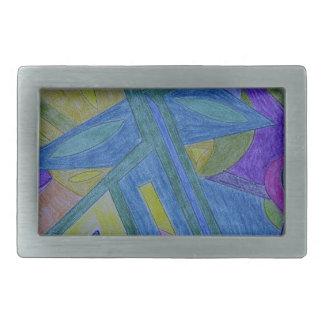 Colorful, abstract primitive art rectangular belt buckle