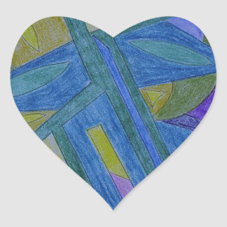 Colorful, abstract primitive art heart sticker