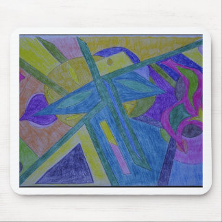 Colorful, abstract primitive art mouse pad