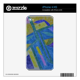 Colorful, abstract primitive art skin for iPhone 4S