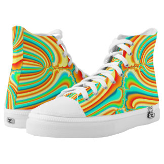 Colorful abstract psychedelic fractal custom printed shoes