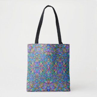 Colorful Abstract Psychedelic Swirls Pattern Tote Bag