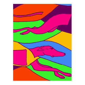 Colorful Abstract Racing Greyhound Dog Art Postcard
