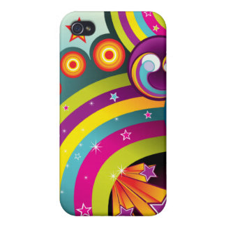 Colorful Abstract Rainbows, Stars & Bubbles iPhone 4/4S Case