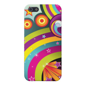 Colorful Abstract Rainbows, Stars & Bubbles Covers For iPhone 5