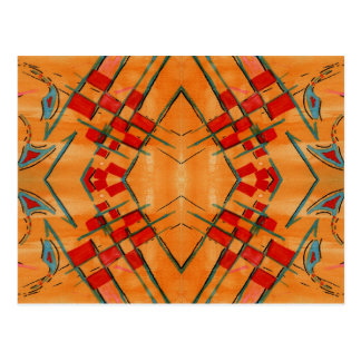 Colorful Abstract Red Design - Hand Painted Postcard