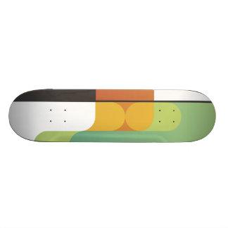 colorful abstract retro art linear geometric green skateboard