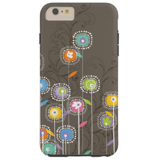 Colorful Abstract Retro Flowers Brown Background Tough iPhone 6 Plus Case