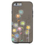 Colorful Abstract Retro Flowers Brown Background iPhone 6 Case