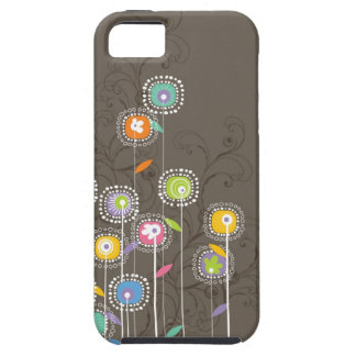 Colorful Abstract Retro Flowers Brown Background iPhone 5 Covers