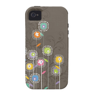 Colorful Abstract Retro Flowers Brown Background Vibe iPhone 4 Case