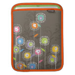 Colorful Abstract Retro Flowers Brown Background Sleeve For iPads