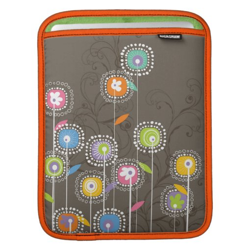 Colorful Abstract Retro Flowers Brown Background iPad Sleeves