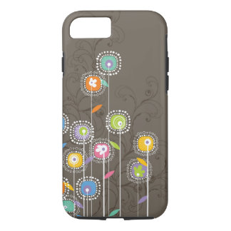 Colorful Abstract Retro Flowers Brown Background iPhone 7 Case