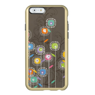 Colorful Abstract Retro Flowers Brown Background Incipio Feather® Shine iPhone 6 Case