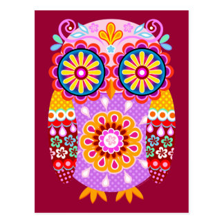 Colorful Abstract Retro Owl Postcards