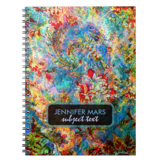 Colorful Abstract Rustic Floral Design Notebook
