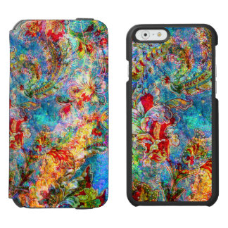 Colorful Abstract Rustic Flowers iPhone 6/6s Wallet Case