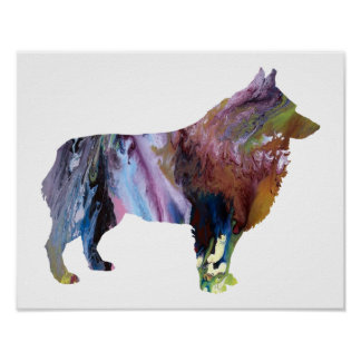 Colorful abstract Schipperke silhouette Poster