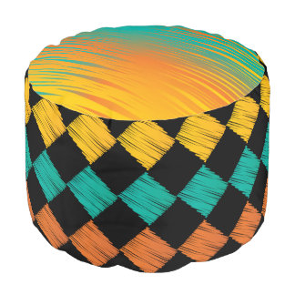 Colorful Abstract Scribble Diamonds Pattern Round Pouf