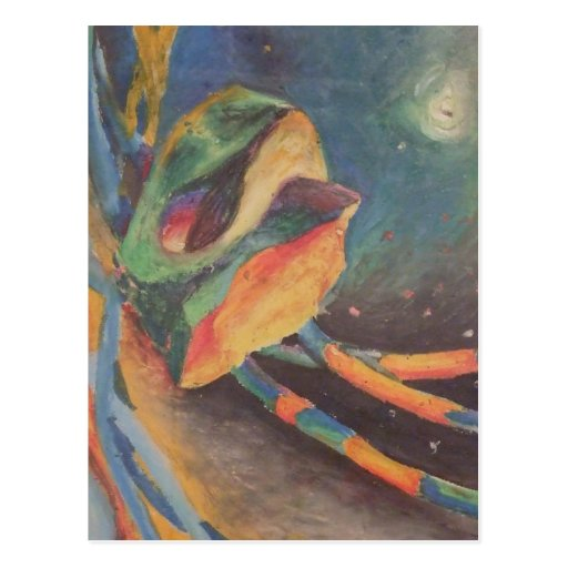 Colorful abstract shapes in space postcard
