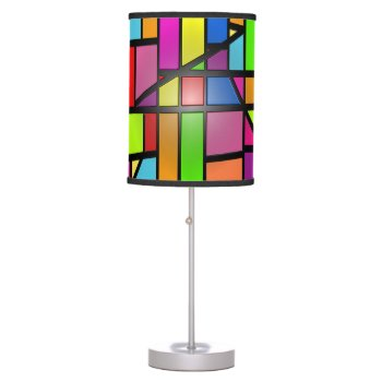 Colorful Abstract Shiny Tiles Table Lamp by RainbowChild_Art at Zazzle