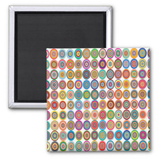 Colorful Abstract Small Concentric Circles Art Magnet