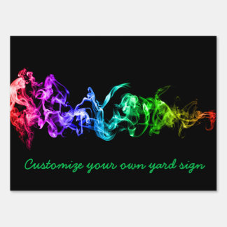 Colorful Abstract Smoke - A Rainbow in the Dark Lawn Sign
