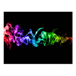 Colorful Abstract Smoke - A Rainbow in the Dark Postcard