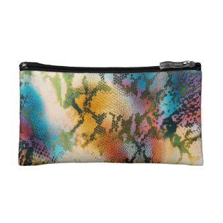 Colorful abstract snake skin pattern cosmetic bag