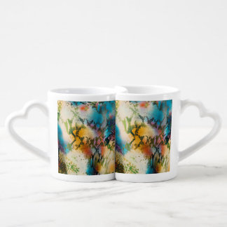 Colorful abstract snake skin pattern couples' coffee mug set