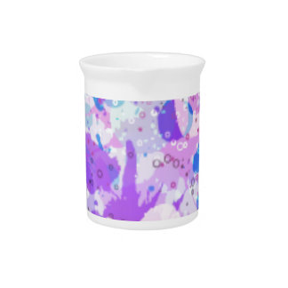 Colorful abstract, splat style design Pink/Blue Beverage Pitchers