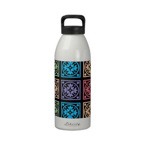 Colorful abstract square pattern drinking bottles