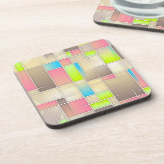 Colorful Abstract Squares Geometric Pattern Beverage Coaster