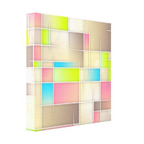 Colorful Abstract Squares Geometric Pattern Canvas Print