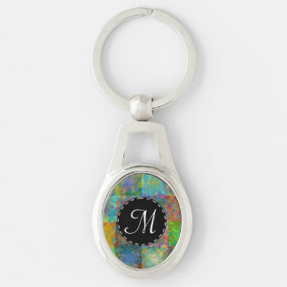 Colorful abstract squares Silver-Colored oval metal keychain
