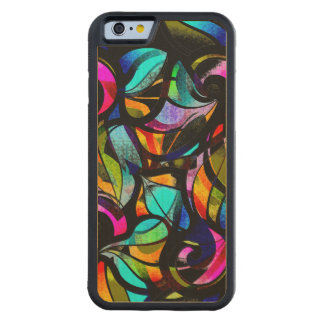Colorful Abstract Stained Glass Design Carved Maple iPhone 6 Bumper Case