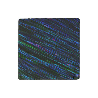 Colorful Abstract Star Streaks blue Stone Magnet