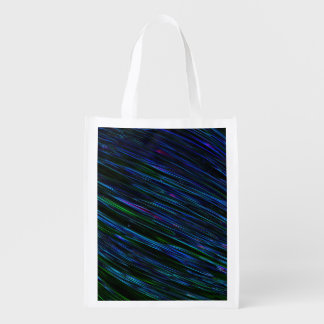 Colorful Abstract Star Streaks blue Grocery Bags