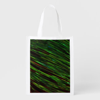Colorful Abstract Star Streaks green Grocery Bag