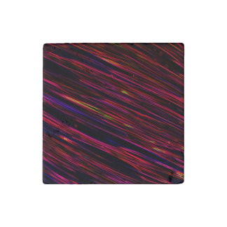 Colorful Abstract Star Streaks red Stone Magnet