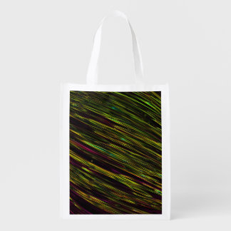 Colorful Abstract Star Streaks yellow Reusable Grocery Bags