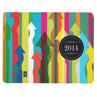 Colorful Abstract Stripe with 2014 Calendar Inside Journal