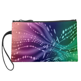 Colorful Abstract Sueded Mini Clutch