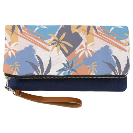 Colorful Abstract Summer Palm Tree Pattern Clutch