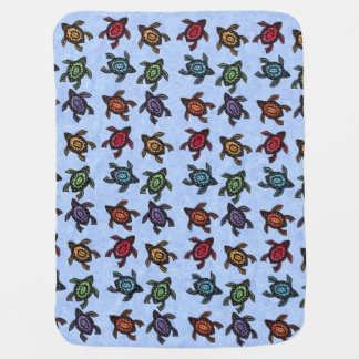 Colorful Abstract Swimming Turtles Baby Blanket