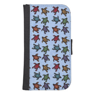 Colorful Abstract Swimming Turtles Galaxy S4 Wallet Case