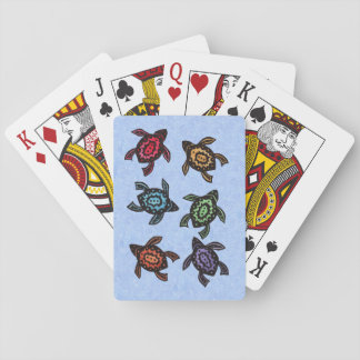 Colorful Abstract Swimming Turtles Poker Deck