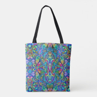 Colorful Abstract Swirls Collage Pattern Tote Bag