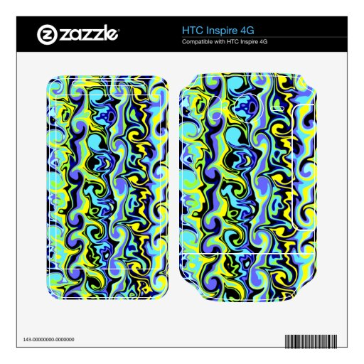 Colorful Abstract Swirls & Curls HTC Inspire 4G Decal